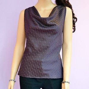 💜Sleeveless Draped Neck Pull Over Polyester Top